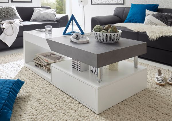Couchtisch Hope in matt weiß Lack mit Stone Design grau Wohnzimmertisch mit Auszug und Schubkasten 120 x 60 cm