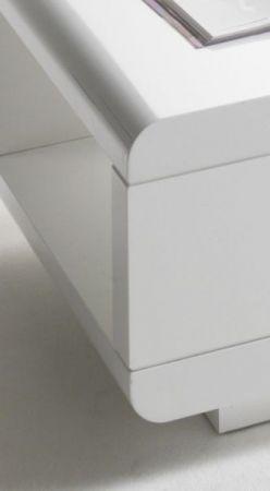 Couchtisch Idos in Hochglanz weiß Wohnzimmertisch mit drehbarem Schubkasten 120 x 60 cm
