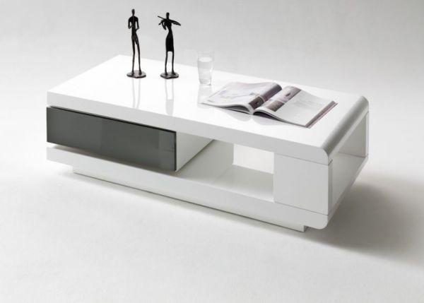 Couchtisch Idos in Hochglanz weiß und grau Wohnzimmertisch mit drehbarem Schubkasten 120 x 60 cm