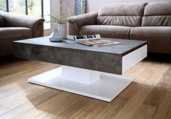 Couchtisch Lania in Stone Beton grau und matt weiß lackiert Wohnzimmertisch mit 2 Schubkästen 110 x 70 cm