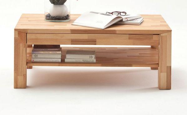 Couchtisch Messina in Kernbuche massiv geölt / gewachst Wohnzimmertisch mit Schubkasten und Ablage 110 x 70 cm