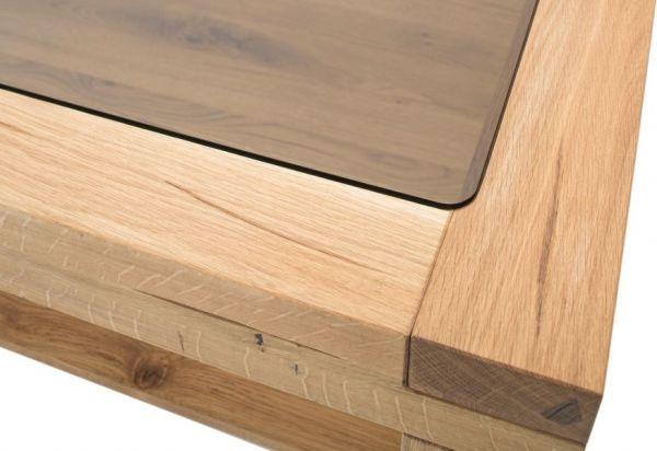 Couchtisch Alec in Wildeiche massiv geölt Wohnzimmertisch mit Glastischplatte und Ablage quadratisch 95 x 95 cm