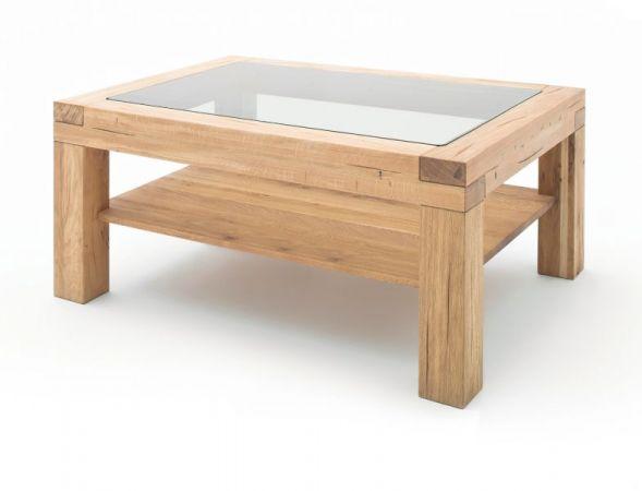 Couchtisch Alec in Wildeiche massiv geölt Wohnzimmertisch mit Glastischplatte und Ablage rechteckig 120 x 70 cm