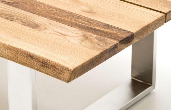 Couchtisch Sandro in Asteiche massiv geölt / gewachst mit Edelstahl Kufentisch 120 x 75 cm Wohnzimmertisch