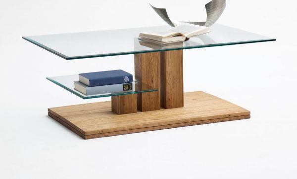 Couchtisch Paco in Asteiche massiv mit Glastischplatte Wohnzimmertisch 110 x 70 cm mit Ablage