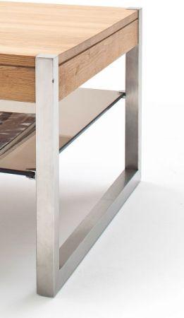 Couchtisch Migel in Asteiche massiv mit Edelstahl Kufentisch Wohnzimmertisch mit Glasablage 65 x 65 cm quadratisch