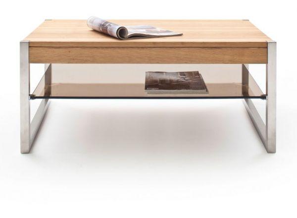 Couchtisch Migel in Asteiche massiv mit Edelstahl Kufentisch Wohnzimmertisch mit Glasablage 105 x 65 cm rechteckig