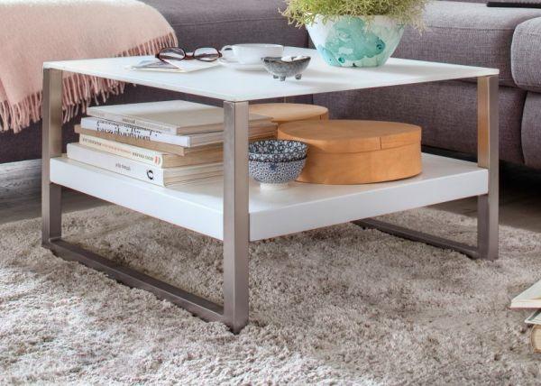 Couchtisch Baveno in matt weiß lackiert und Edelstahl Kufentisch mit Glastischplatte Wohnzimmertisch 65 x 65 cm