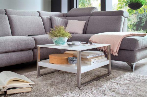 """Couchtisch """"Baveno"""" in matt weiß lackiert und Edelstahl Kufentisch mit Glastischplatte Wohnzimmertisch 65 x 65 cm"""