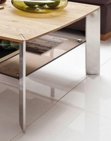 """Couchtisch """"Nelia"""" in Asteiche massiv mit Glasablage und Edelstahl Beistelltisch 120 x 70 cm"""