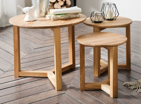 Couchtisch Faye 3er Set in Asteiche massiv geölt 3 Tische Eiche Wohnzimmer Beistelltisch