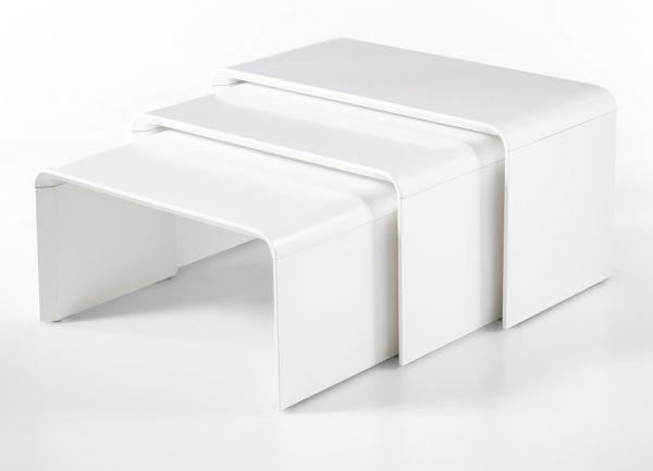 Couchtisch Phil 3er Set in matt weiß lackiert 3 Tische Wohnzimmer Beistelltisch stapelbar