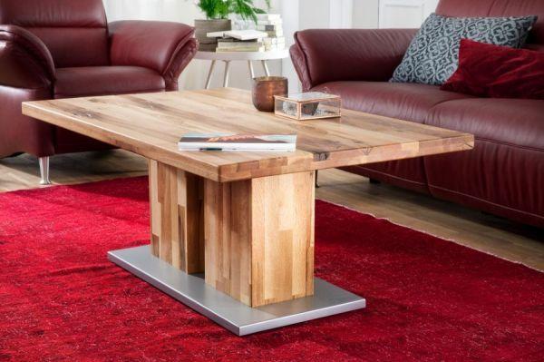Couchtisch Turin in Zerreiche massiv geölt Wohnzimmertisch Eiche 120 x 75 cm Säulentisch