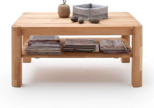Couchtisch Robert in Kernbuche oder Asteiche massiv geölt Wohnzimmertisch mit Ablage rechteckig 110 x 70 cm