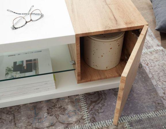 """Couchtisch """"Manisa"""" in matt weiß lackiert und Eiche - Wohnzimmertisch mit Glasablage 120 x 63 cm"""