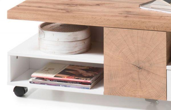 Couchtisch Rennes in Eiche und matt weiß lackiert Wohnzimmertisch mit Ablage und Schubkasten 120 x 60 cm auf Rollen