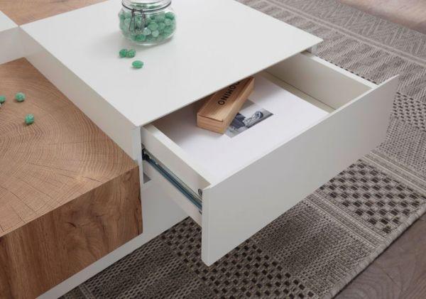 Couchtisch Pensa in Eiche und Hochglanz weiß lackiert Wohnzimmertisch mit 2 Schubkästen 90 x 90 cm quadratisch