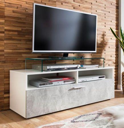 TV-Lowboard Uno in weiß und Stone Design grau Fernsehtisch 120 x 45 cm TV-Unterteil