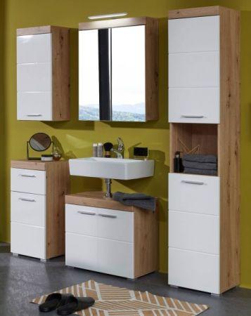 Badezimmer Badmöbel Set Amanda Hochglanz weiß und Eiche Asteiche Badkombination 5-teilig 164 x 190 cm