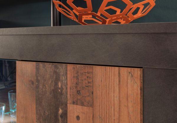 Wohnwand Boom in Used Wood Shabby Design mit Matera grau Schrankwand 308 x 212 cm inkl. LED-Beleuchtung