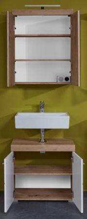 Badezimmer Badmöbel Set Amanda Hochglanz weiß und Eiche Asteiche Badkombination 2-teilig 60 x 190 cm