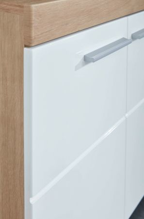 Badezimmer Badmöbel Set Amanda Hochglanz weiß und Eiche Asteiche Badkombination 3-teilig 112 x 190 cm
