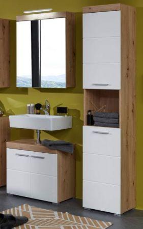 Badezimmer Hochschrank Amanda in Hochglanz weiß und Eiche Asteiche Badmöbel 37 x 190 cm Badschrank