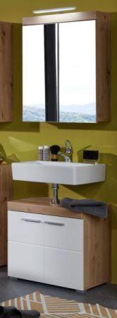 Badezimmer Waschbeckenunterschrank Amanda in Hochglanz weiß und Eiche Asteiche Badmöbel 60 x 56 cm
