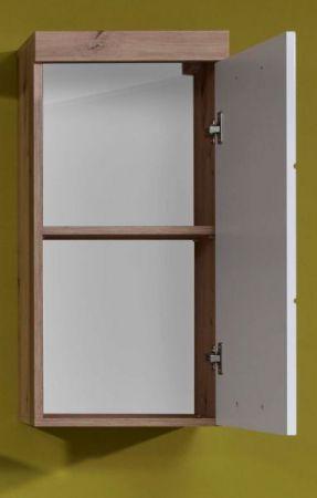 Badezimmer Hängeschrank Amanda in Hochglanz weiß und Eiche Asteiche Badmöbel 37 x 77 cm Badschrank