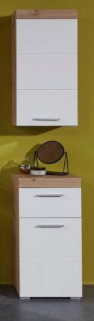 Badezimmer Unterschrank Amanda in Hochglanz weiß und Eiche Asteiche Badmöbel 37 x 79 cm Badschrank Kommode