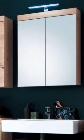 Badezimmer Spiegelschrank Amanda Eiche / Asteiche 2-türig 60 x 77 cm optional mit LED Spiegellampe