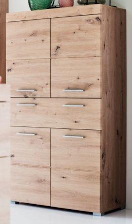 Badezimmer Midischrank Amanda in Eiche / Asteiche Badmöbel 73 x 132 cm Badschrank Mehrzweckschrank