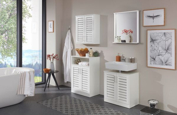 Waschbeckenunterschrank Olsen in weiß mit Lamellentüren Waschtisch 60 x 64 cm Badmöbel