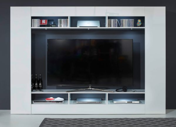 Mediawand Max in Hochglanz weiß Wohnwand gesamt 216 x 160 cm TV-Ausschnitt 158 cm mehr als 65 Zoll