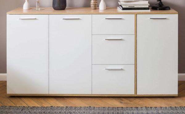 Sideboard Up in weiß und Sonoma Eiche hell sägerau Anrichte 160 x 85 cm Kommode