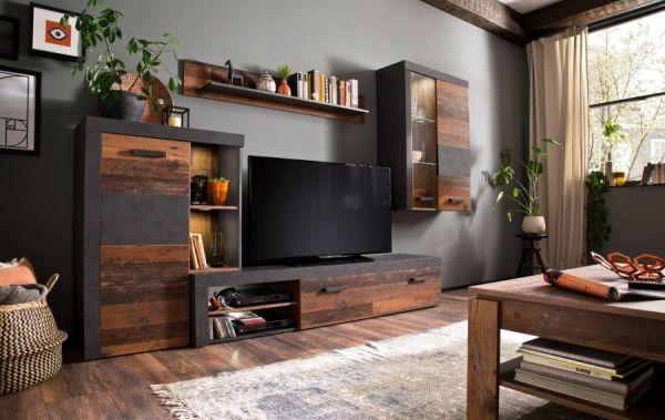 Wohnwand Rooky in Old Used Wood Shabby Design mit Matera grau Schrankwand 4-teilig 283 x 206 cm