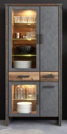 Vitrinenschrank Prime in Old Used Wood Design mit Matera grau Vitrine Shabby 89 x 212 cm