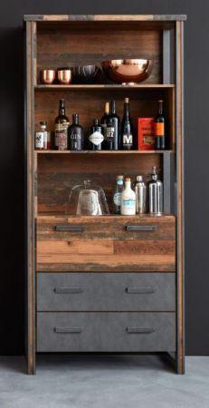 Regalschrank Prime in Old Used Wood Design mit Matera grau Hochschrank Shabby 89 x 212 cm Barschrank