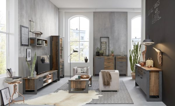 TV-Lowboard Prime in Old Used Wood Design mit Matera grau TV-Unterteil Shabby 207 x 52 cm