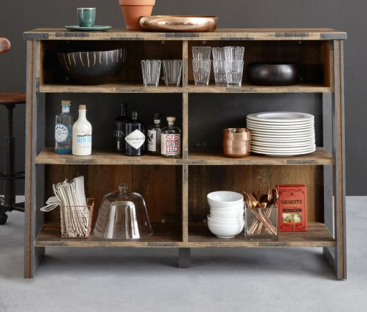Bar Prime in Old Used Wood Design mit Matera grau Barregal Shabby 140 x 105 cm Bartresen