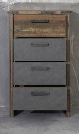 Kommode Prime in Old Used Wood Design mit Matera grau Anrichte Shabby 65 x 110 cm