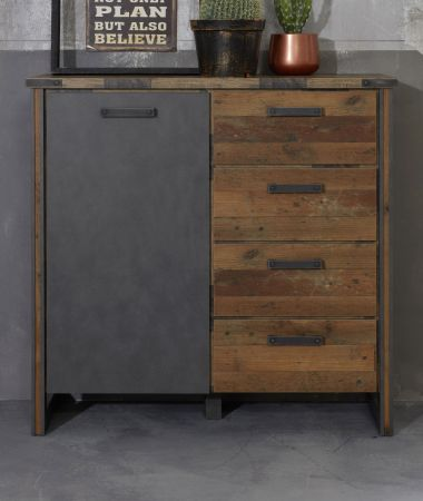 Kommode Prime in Used Wood Shabby und Matera grau 119 cm
