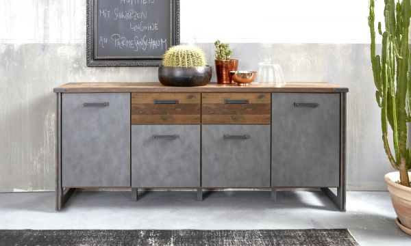 Sideboard Prime in Old Used Wood Design mit Matera grau Anrichte Shabby 207 x 88 cm Kommode