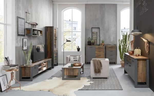 Regal Prime in Old Used Wood Design mit Matera grau Highboard Shabby 113 x 136 cm Regalschrank