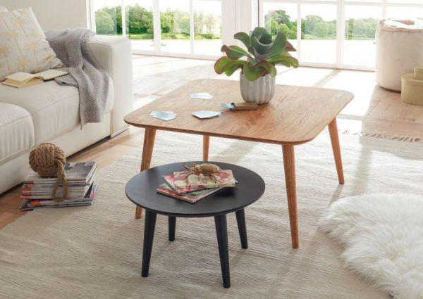 Couchtisch Aleta 2er Set in Asteiche massiv geölt und Anthrazit lackiert 2 Tische Eiche Wohnzimmer Beistelltisch
