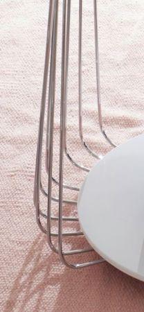 Couchtisch Vilnius matt weiß lackiert mit Chrom Wohnzimmertisch rund 70 cm mit Ablage