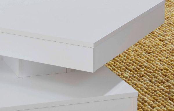 Couchtisch in weiß Wohnzimmertisch drehbar quadratisch 70 x 70 cm mit Ablage