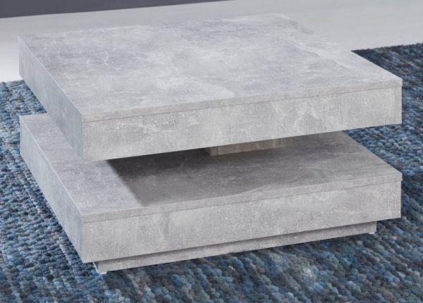 Couchtisch in Stone Design grau Wohnzimmertisch drehbar quadratisch 70 x 70 cm mit Ablage