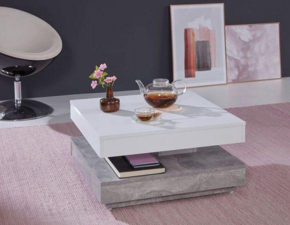 Couchtisch in weiß und Stone Design grau Wohnzimmertisch drehbar quadratisch 70 x 70 cm mit Ablage