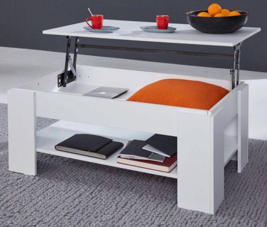 Couchtisch in weiß Wohnzimmertisch mit Ablage 107 x 60 cm Beistelltisch aufklappbar mit Esstischfunktion